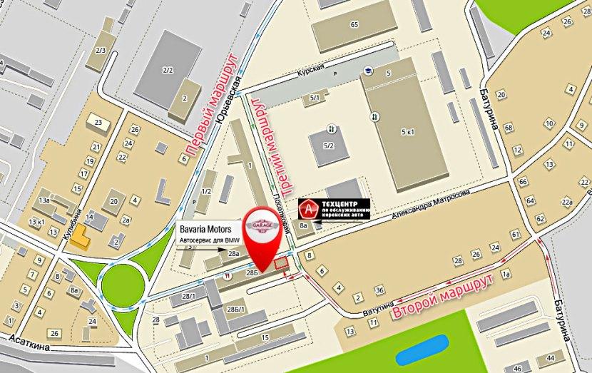 На фото карта с отметками-стрелками для обозначения трех маршрутов движения к конечной точке г.Владимир, ул. Александра Матросова, 28Б