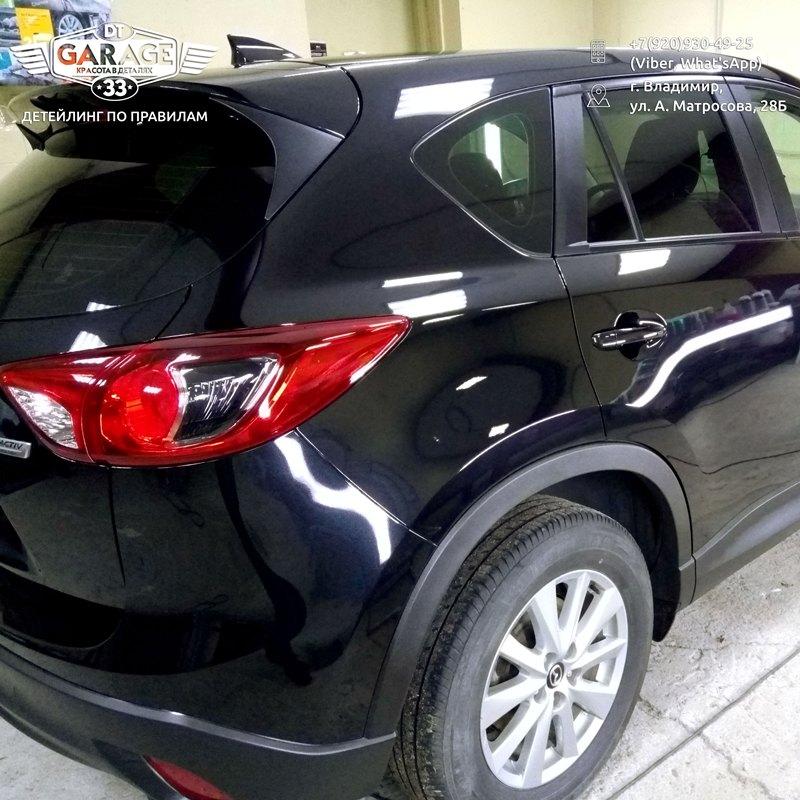 На фото задний фонарь Mazda CX-5 после полировки.