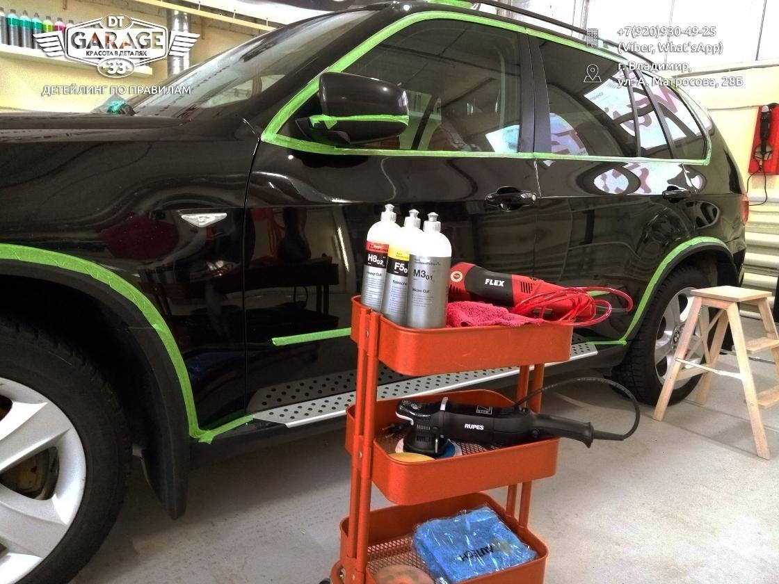 На фото оборудование и пасты для полировки машин.