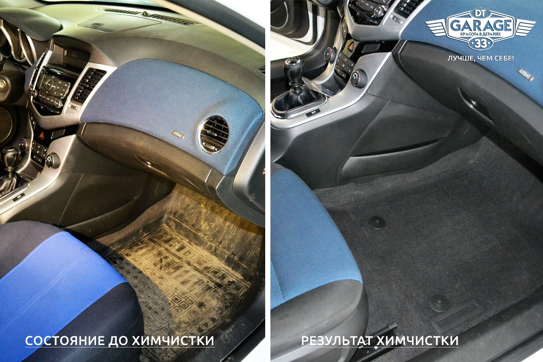 Сравнительное фото: пол в автомобиле до чистки и после чистки.