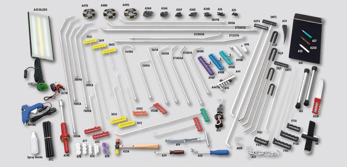 На фото инструменты для удаления вмятин по технологии PDR.