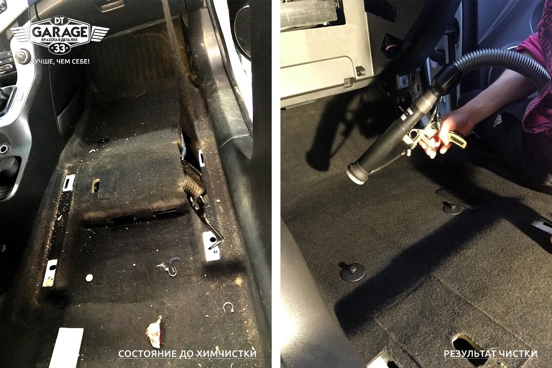 Сравнительное фото: салон Chevrolet Cruze до и после чистки моющим пылесосом.