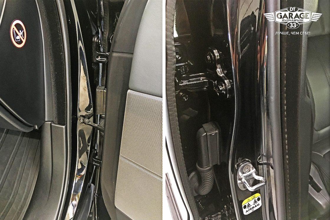 На фото чистые дверные проемы автомобиля.
