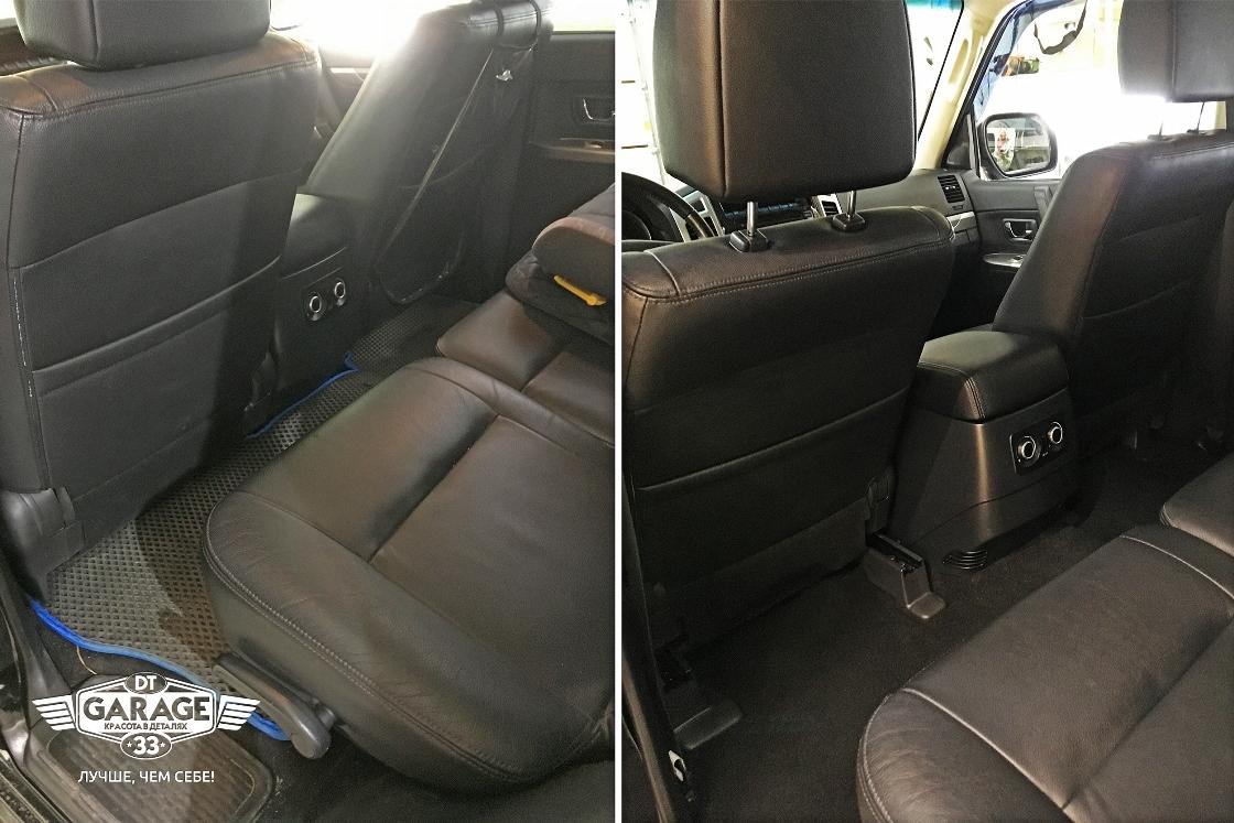 На фото заднее пассажирское сидение и пол до чистки и после. Сравнительное фото.