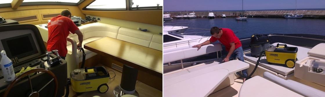 На фото мастер чистит яхту моющим пылесосом.