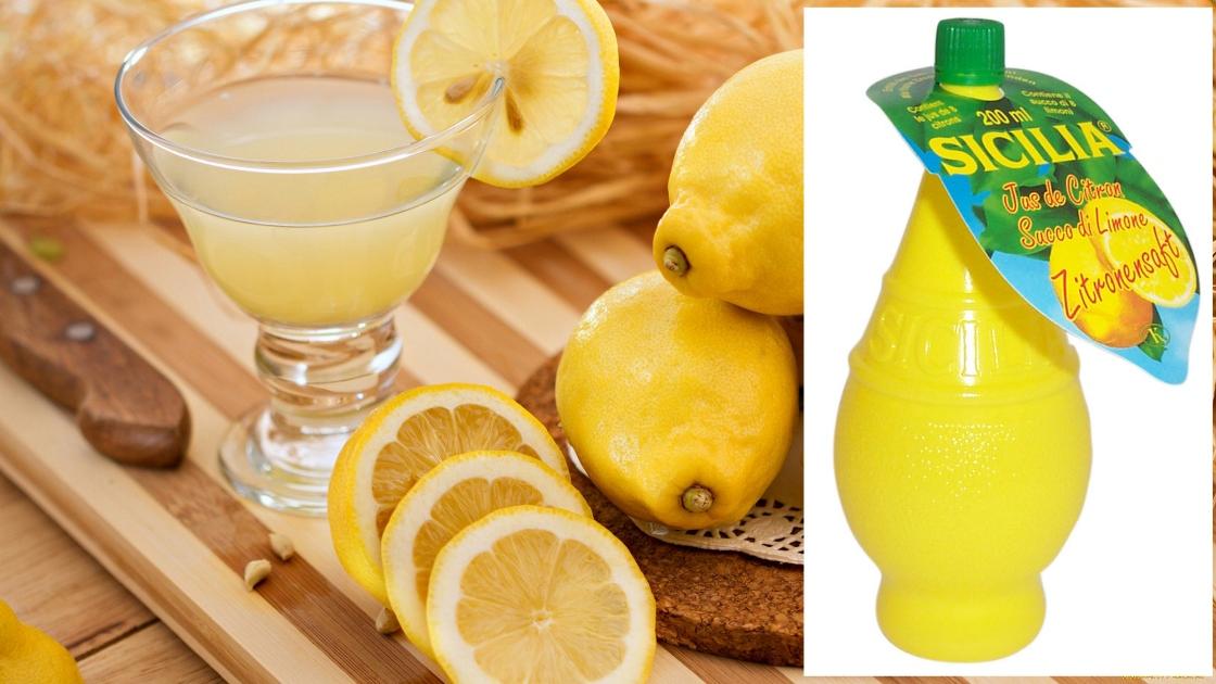На фото лимоны и выжатый сок.