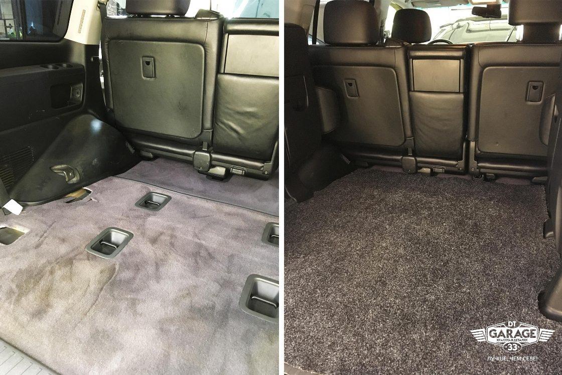 На фото багажник внедорожника Тойота в процессе чистки и после химчистки.