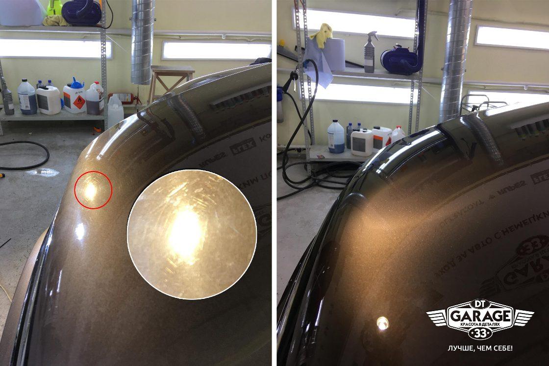 На фото капот автомобиля до и после полировки.