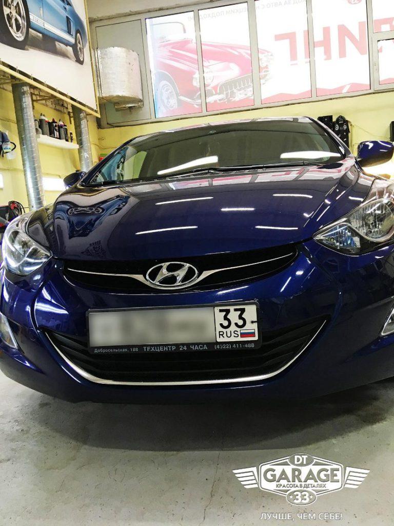 На фото капот и бампер Hyundai Elantra после ремонта сколов.