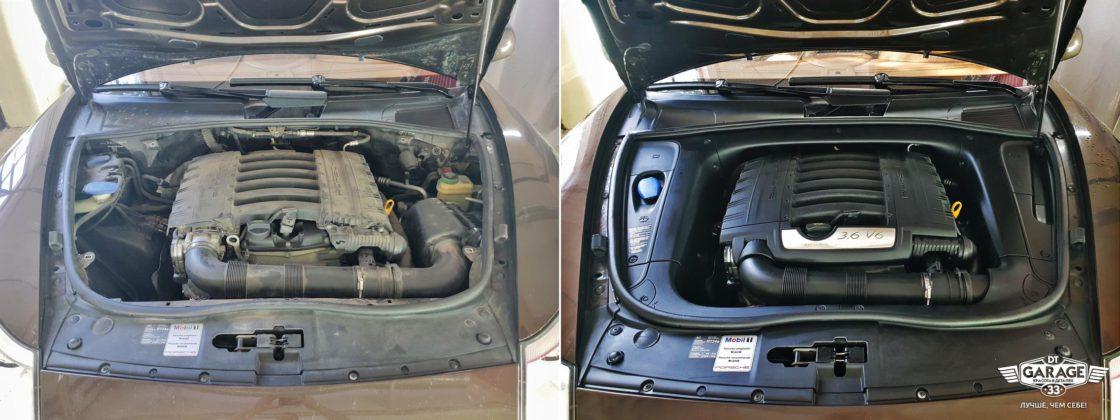 На фото мотор Porsche Cayenne до и после мойки