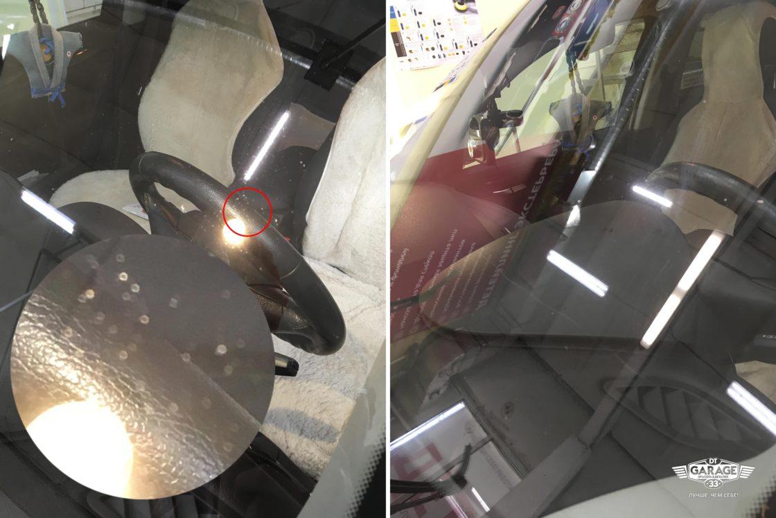 На фото пример полировки лобового стекла BMW X1