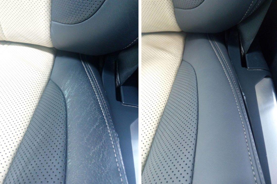 На фото кресло с контрастным швом до покраски и после.