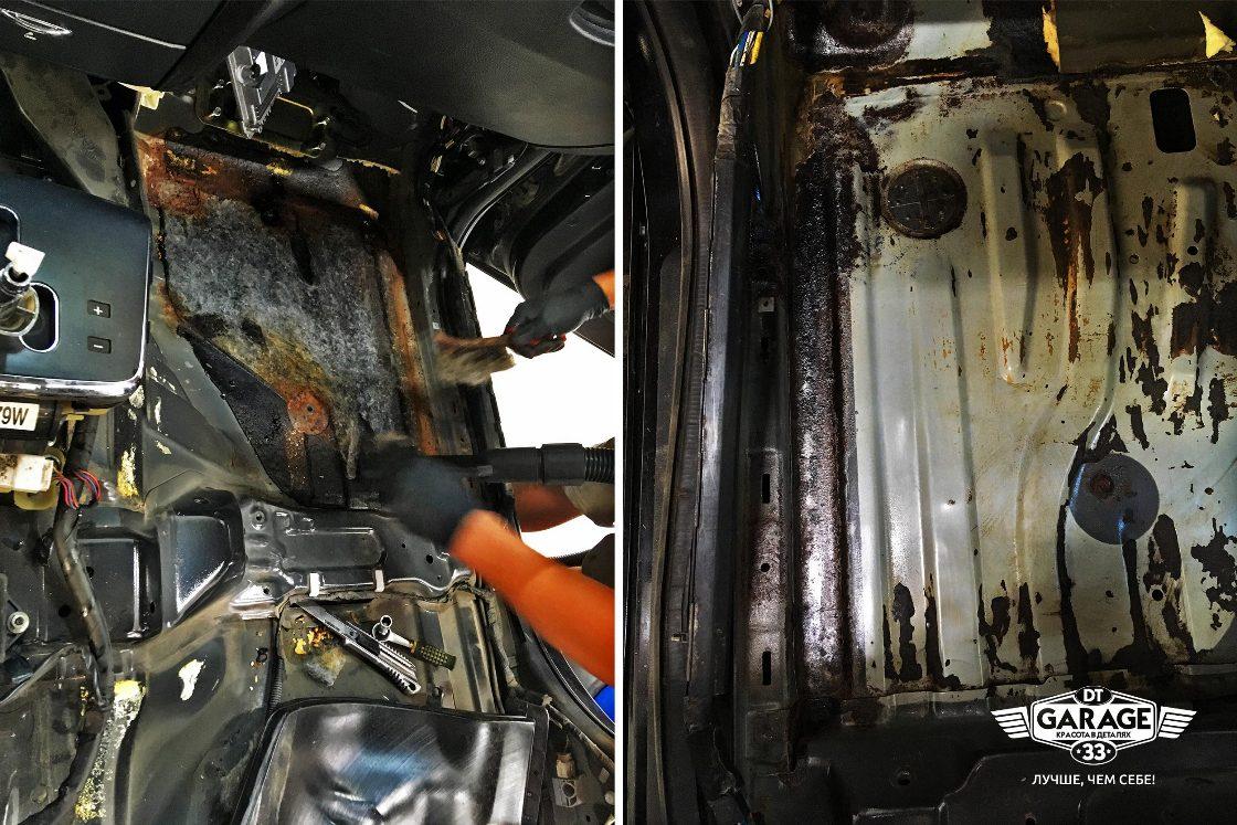 На фото мастер «DT GARAGE 33» убирает заводскую шумоизоляцию, чтобы открыть очаги коррозии.