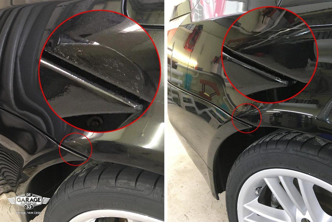 Сравнительное фото. Крыло автомобиля до и после ремонта царапины.