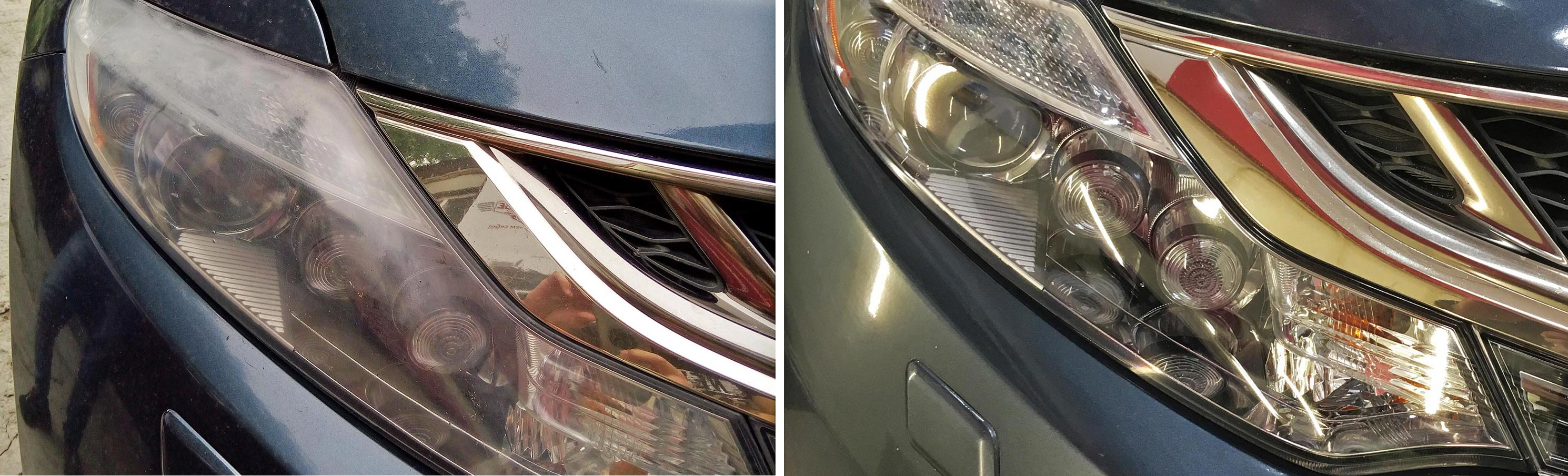 На фото фары до и после полировки. Разница заметна.