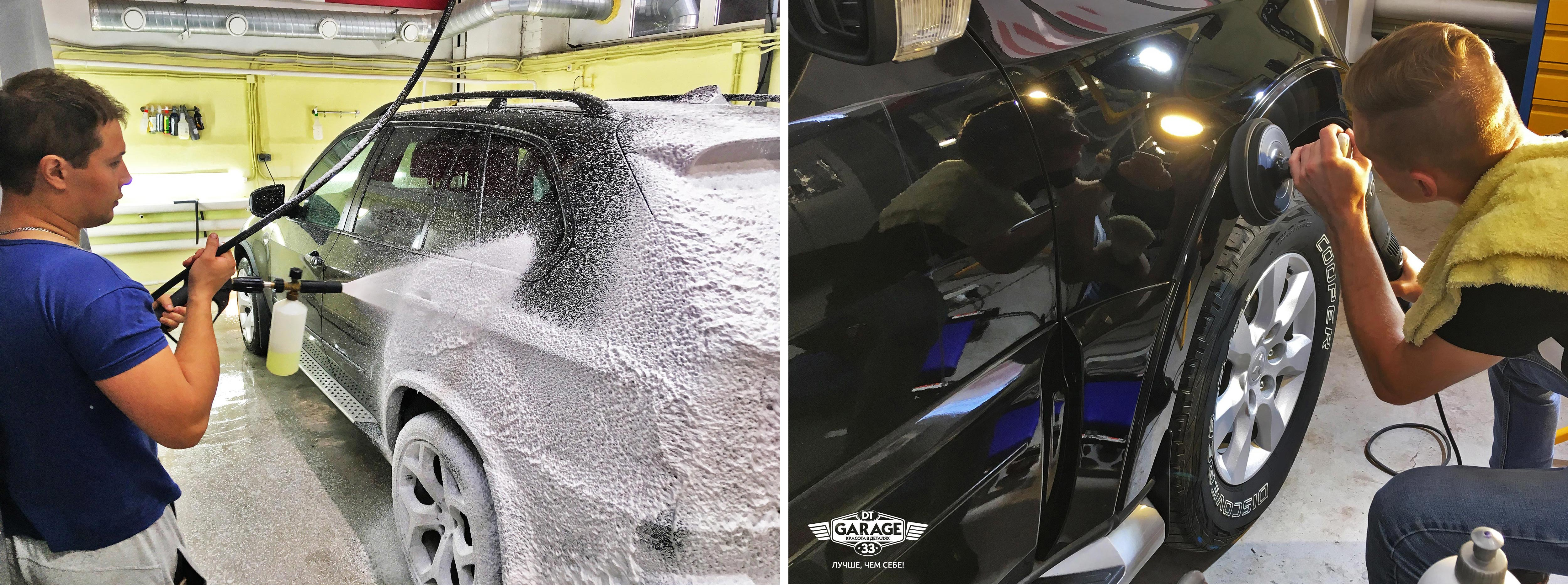 """На фото мастера """"DT GARAGE 33"""" за работой. Мойка и полировка машин."""