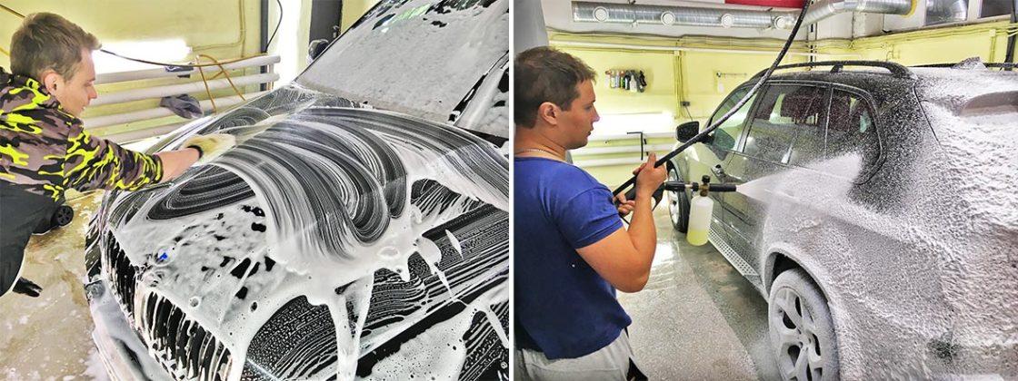На фото специалисты мастерской DT GARAGE 33 моют автомобиль BMW. Город Владимир, Владимирская область.