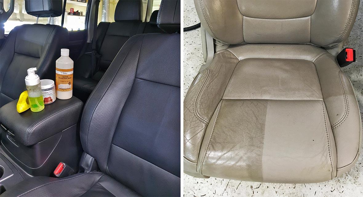 На фото процесс очистки автомобильного кресла в мастерской «DT GARAGE 33». Демонстрируется разница между очищенными и нетронутыми областями.
