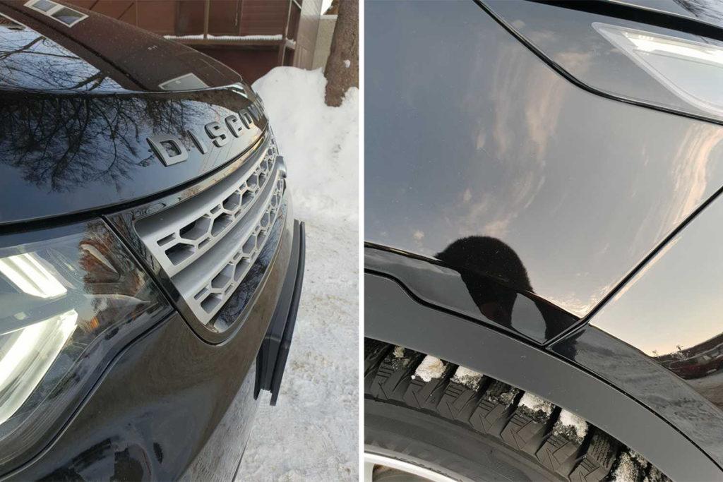 На фото автомобиль черного цвета, оклеенный антигравийной пленкой PremiumShield Elite SH.