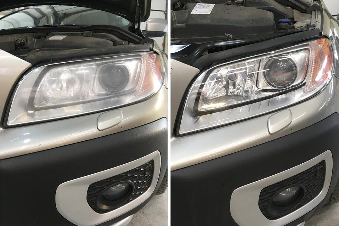 На фото фара Volvo XC70 до и после полировки. Показана наглядно разница.