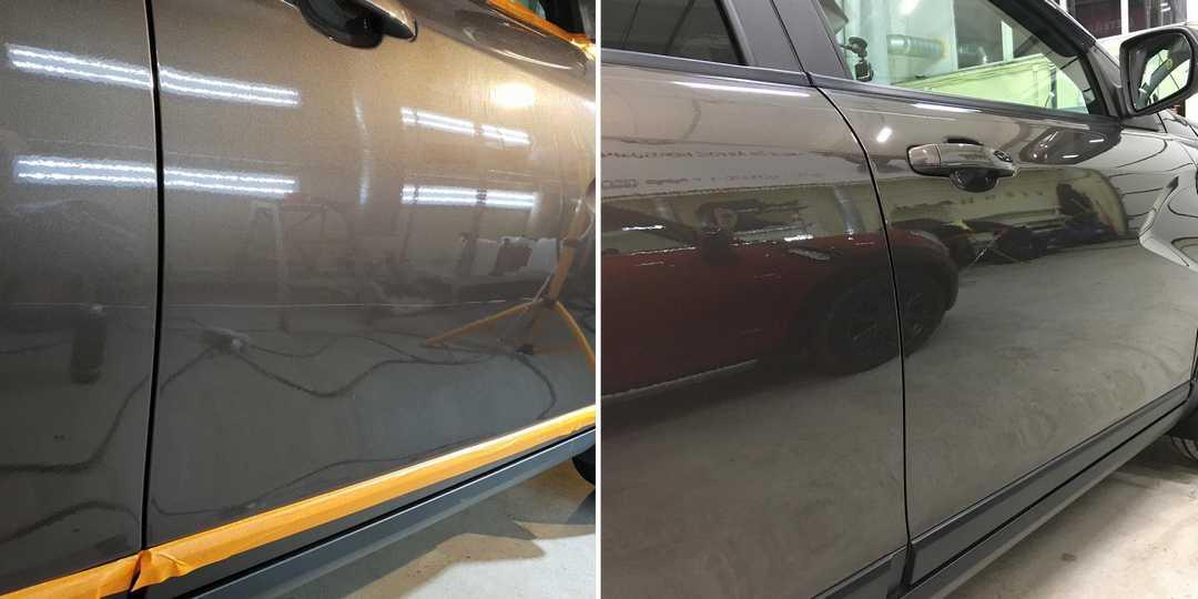 На фото дверь автомобиля до и после полировки. Сравнительное фото. Царапину убрали полностью.