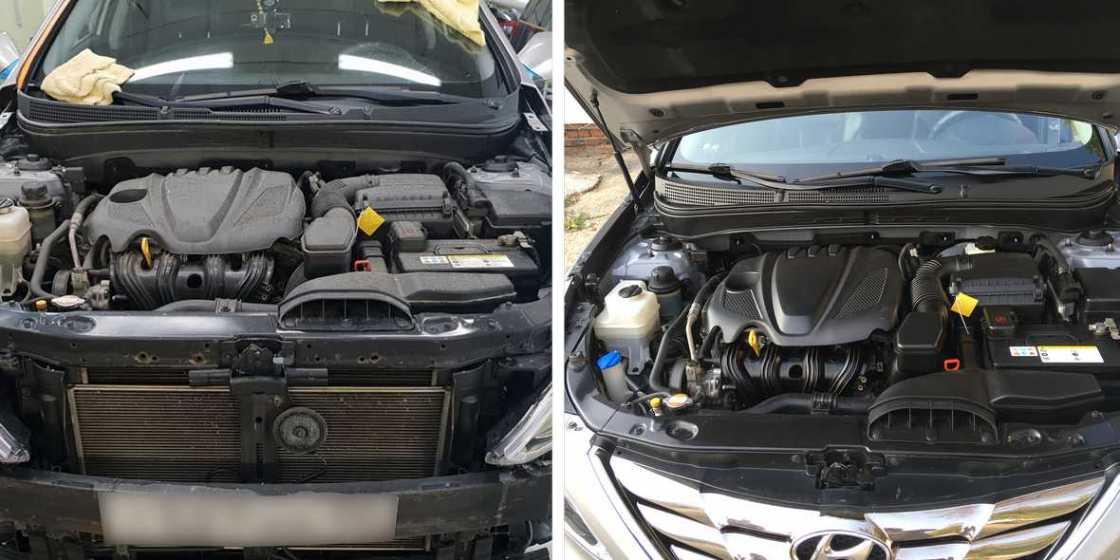 Смотреть на фото мотор Hyundai Sonata после мойки в «DT GARAGE 33».