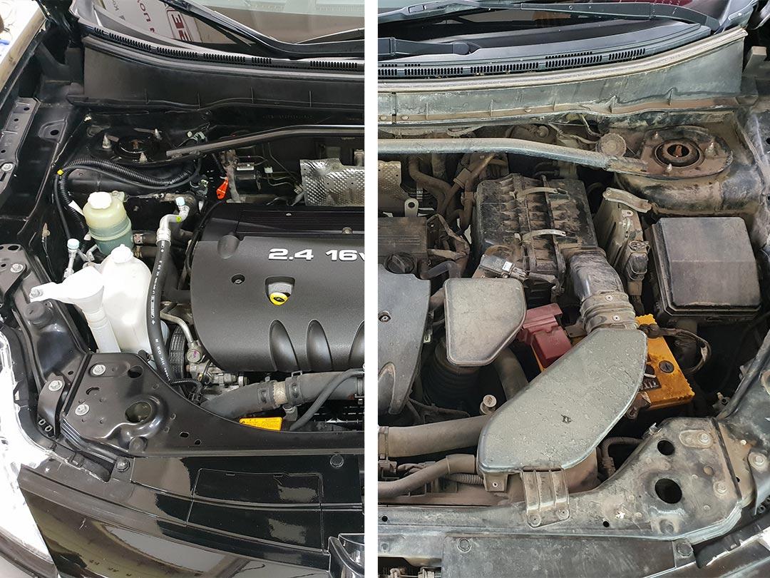 На фото двигатель автомобиля Пежо до и после мойки.