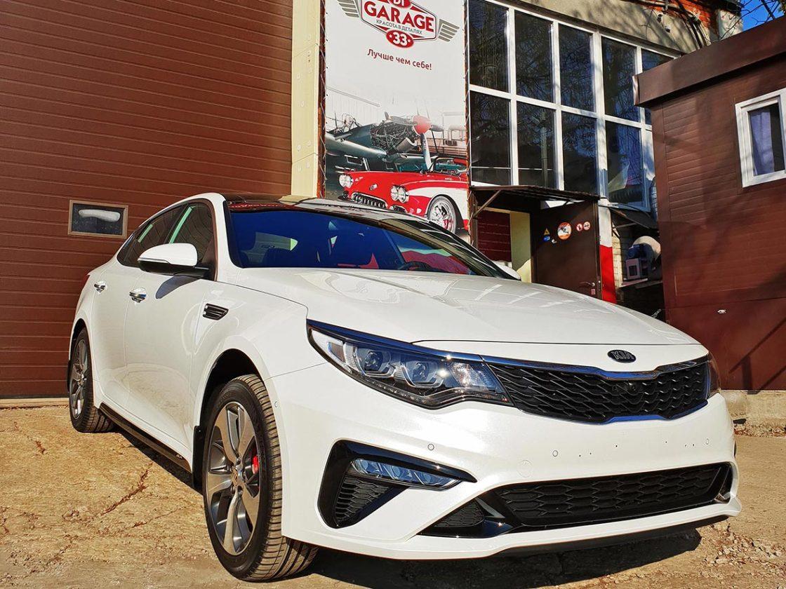 На фото автомобиль КИА Оптима после обработки керамикой.