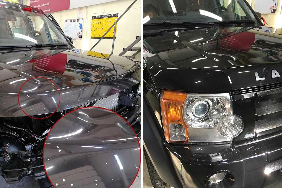 На фото капот Land Rover до и после ремонта сколов.