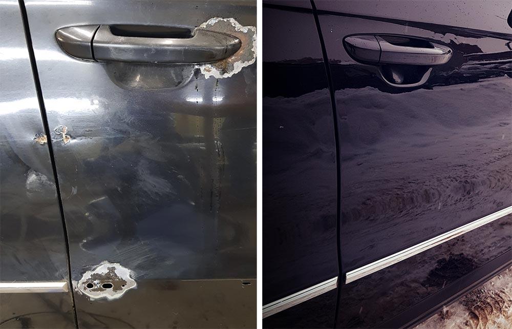 Смотреть фото до и после удаления вмятин на Volkswagen Passat 2008 года.