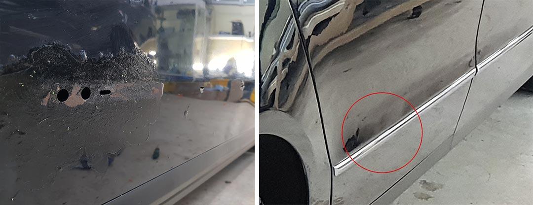 Смотреть фото до и после удаления ржавчины на Volkswagen Passat 2008 года.