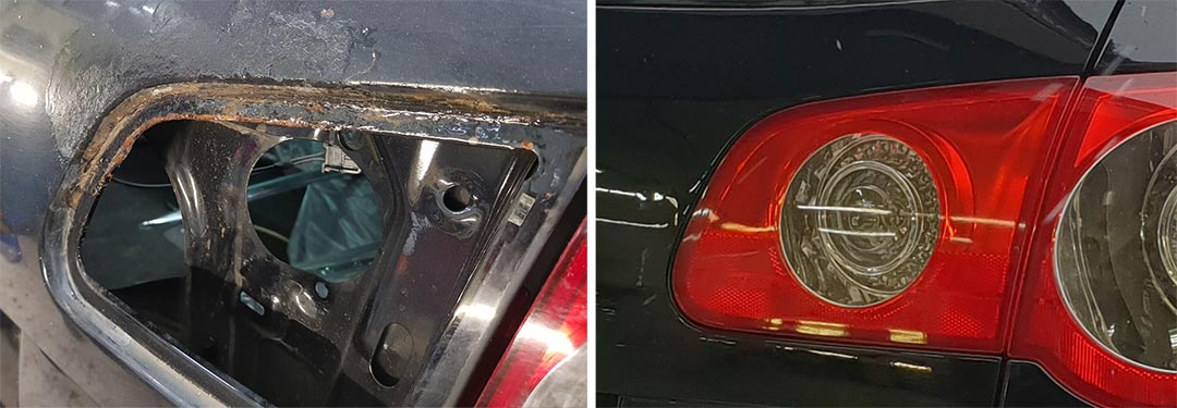 Смотреть фото до и после локальной покраски автомобиля Volkswagen Passat 2008 года.