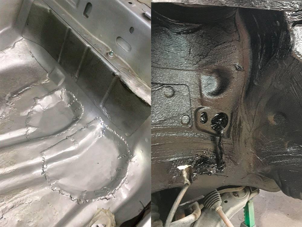 Смотреть на фото результат обработки защитными антикоррозионными покрытиями днища и арки Volkswagen Golf.