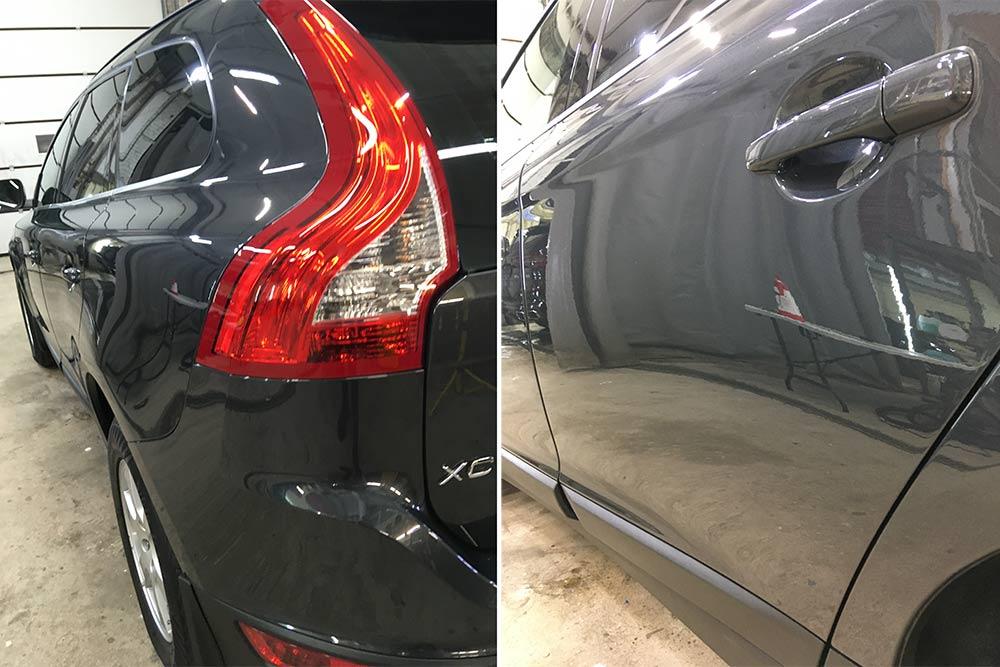 Смотреть на фото эффект от полировки лкп и заднего фонаря у Volvo XC60