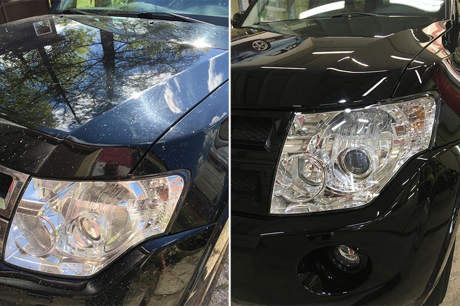 Смотреть на фото Mitsubishi Pajero после ремонта сколов и полировки в детейлинге DT GARAGE 33.
