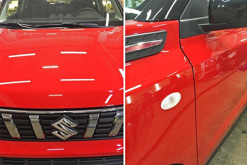 Смотреть на фото капот и боковая плоскость автомобиля Сузуки Витара после полировки и обработки керамикой.