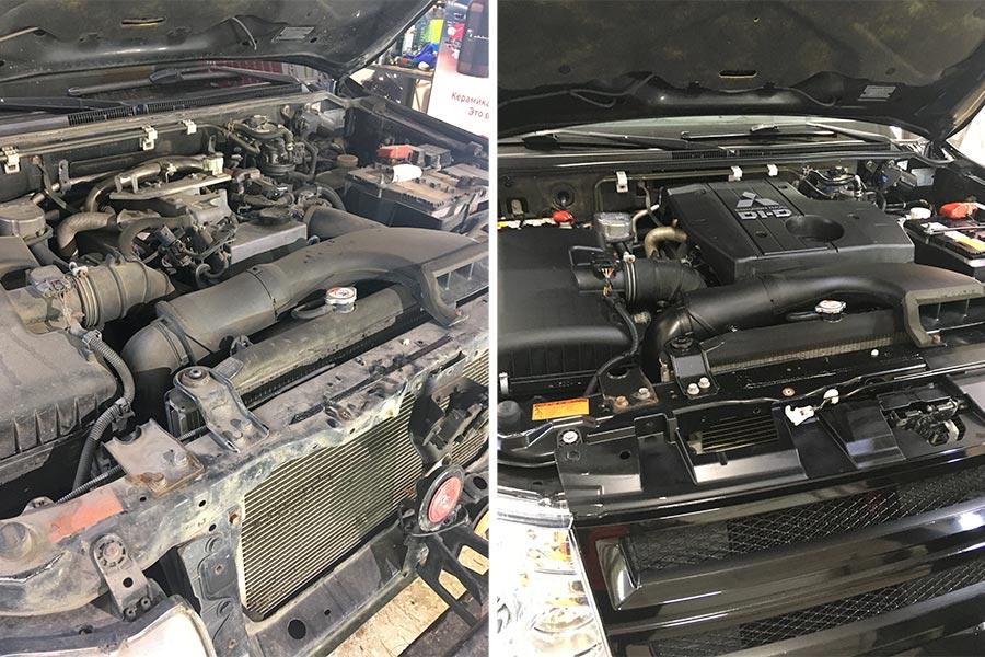Смотреть на фото мотор Mitsubishi Pajero до и после мойки. Разница хорошо заметна.