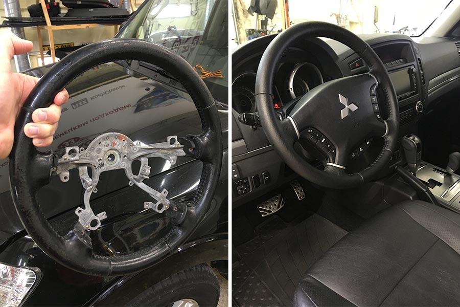 Смотреть на фото руль Mitsubishi Pajero до и после перетяжки.