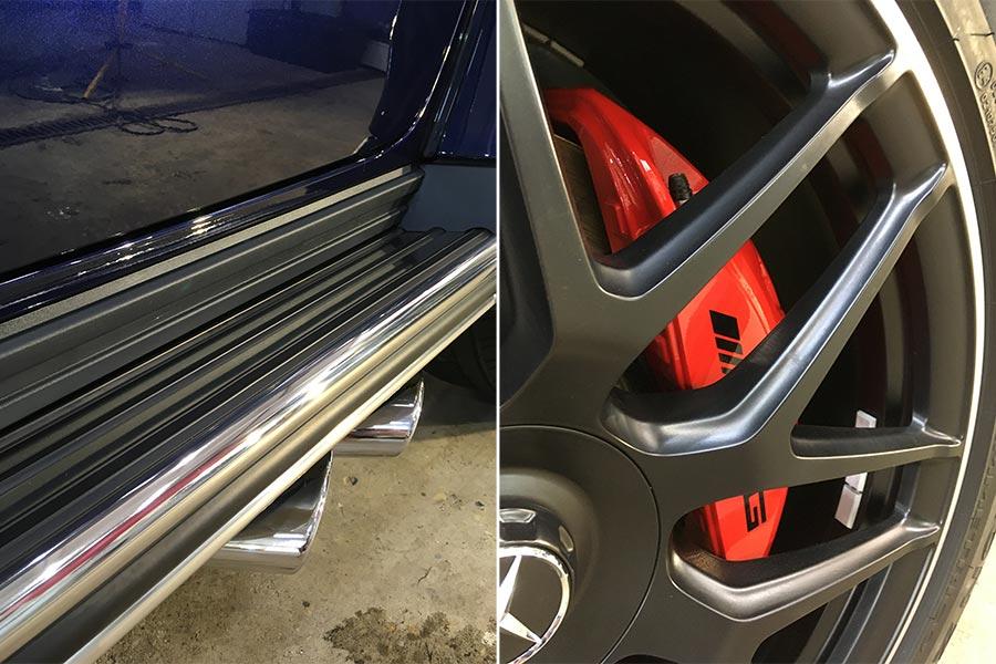 Смотреть на фото состояние хромированных частей кузова и колесных дисков Гелентвагена после года эксплуатации.