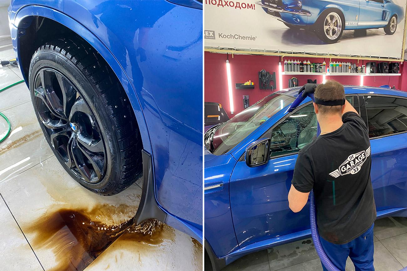 Смотреть на фото процесс смывания битума и сушки автомобиля после мойки.
