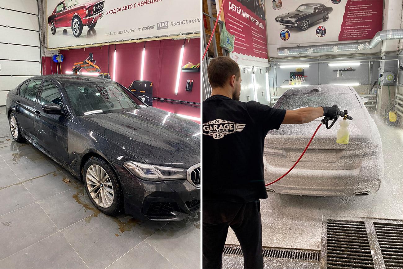 Смотреть на фото, как мастер фирмы «DT GARAGE 33» моет машины.