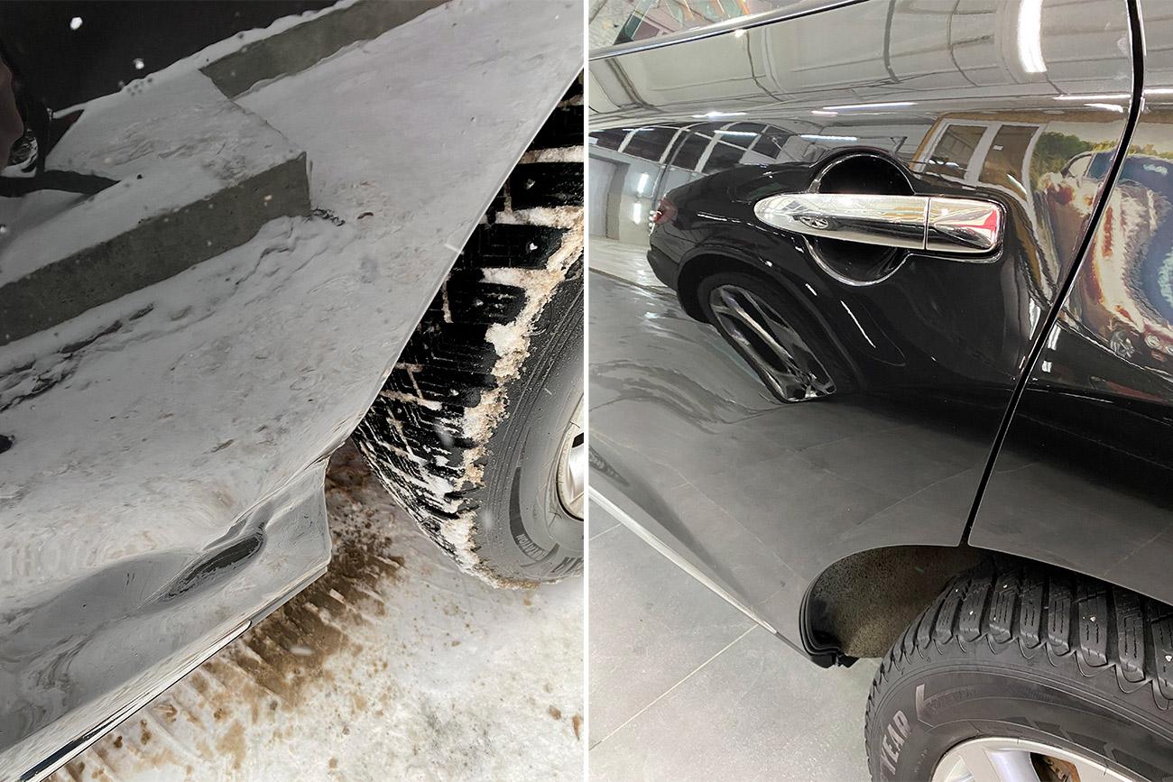 Смотреть на фото крыло автомобиля до и после удаления вмятины. Пример работы мастеров фирмы «DT GARAGE 33».