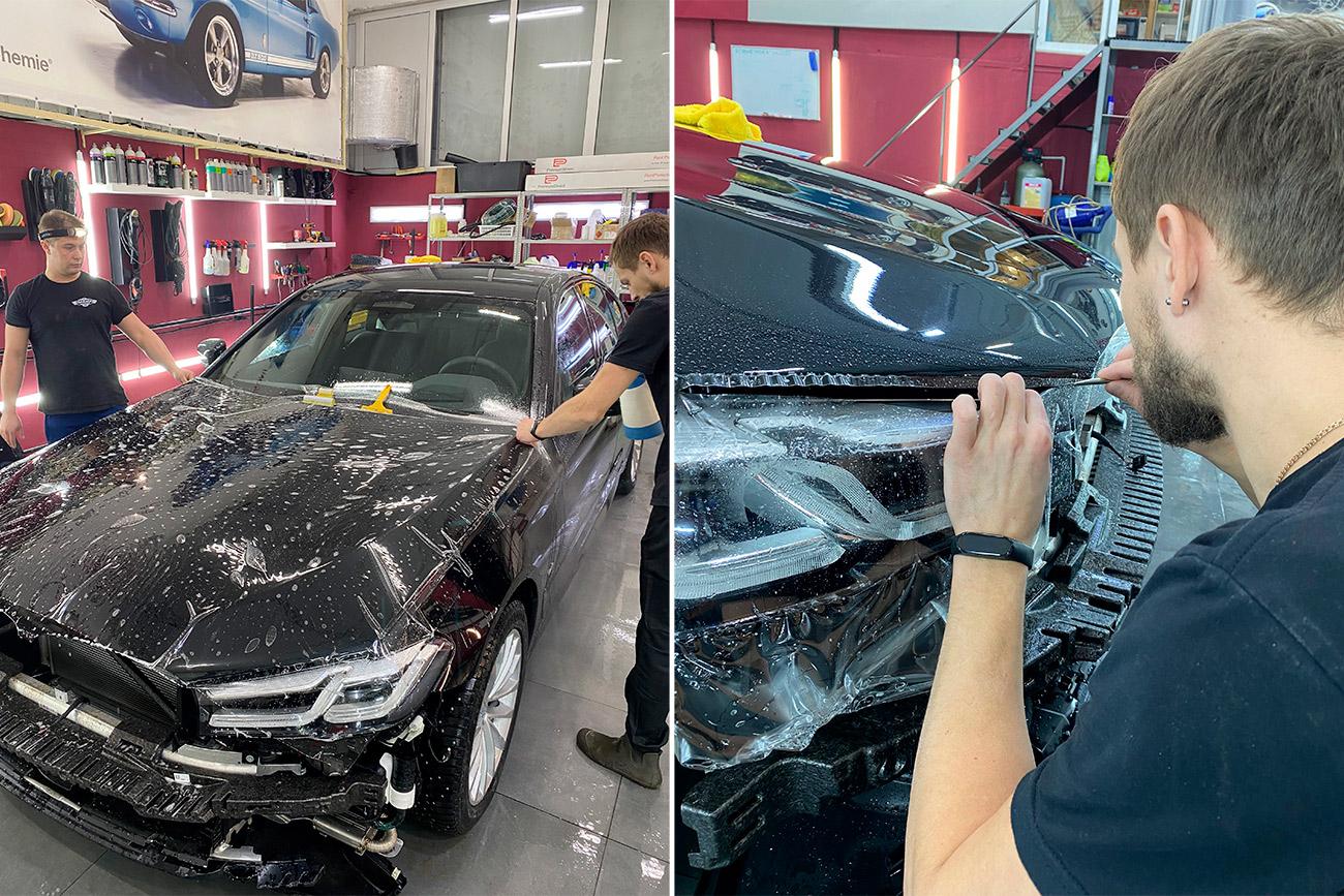 Смотреть на фото, как правильно оклеивать капот автомобиля полиуретановой пленкой.