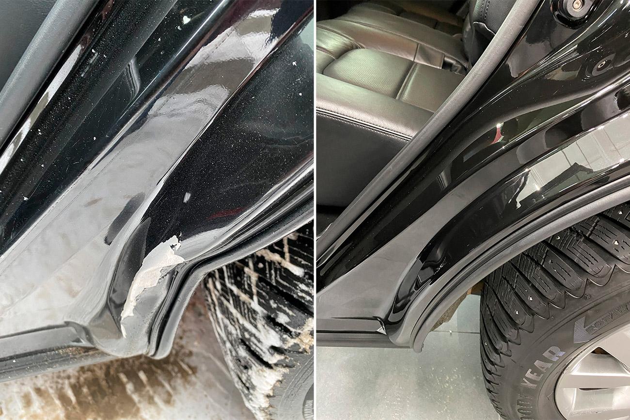 Смотреть на фото дверной проем до и после удаления вмятины. После ремонта вмятины проем был покрашен.