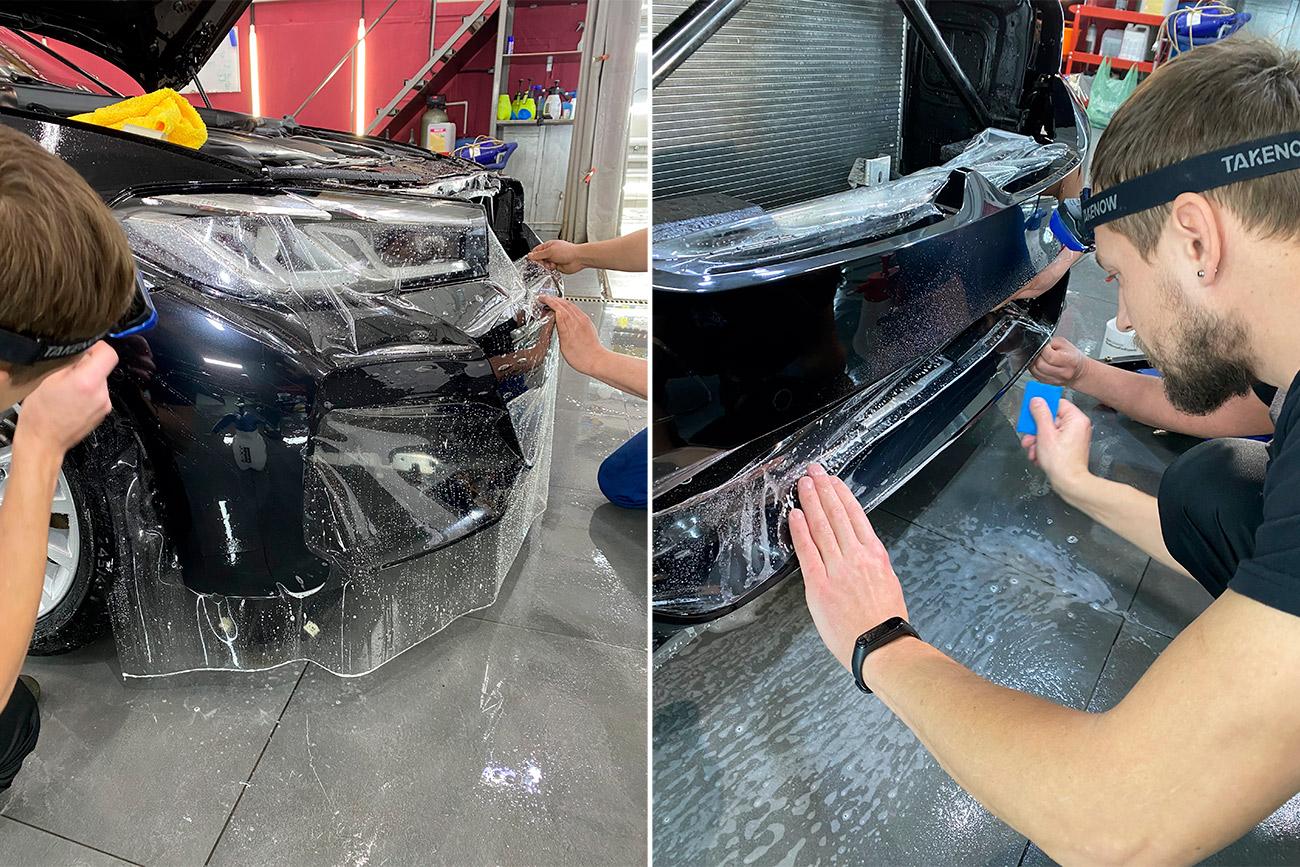 Смотреть на фото процесс оклейки бампера автомобиля БМВ полиуретановой антигравийной пленкой.