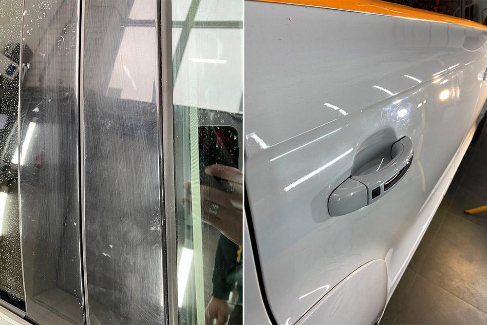 Смотреть на фото автомобиль Audi Q7 до полировка. На фото крупным планом видны царапины.