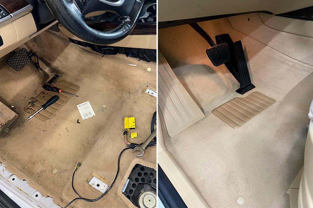 Смотреть на фото напольное покрытие автомобиля BMW X5 2008 года до и после химчистки. Сравнительное фото.