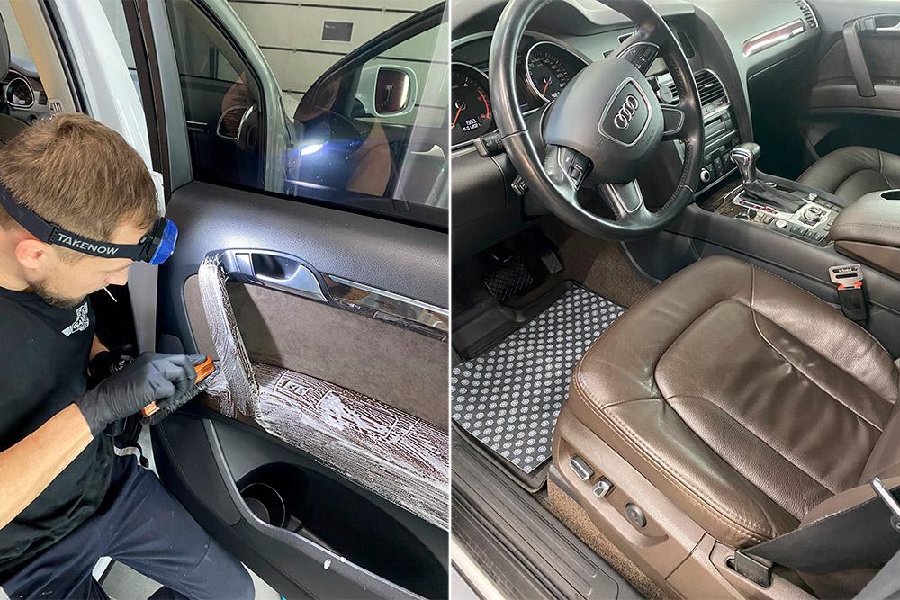 Смотреть на фото, как выполняется химчистка кожаных поверхностей в салоне автомобиля. Услуга в городе Владимир в 2021 году.