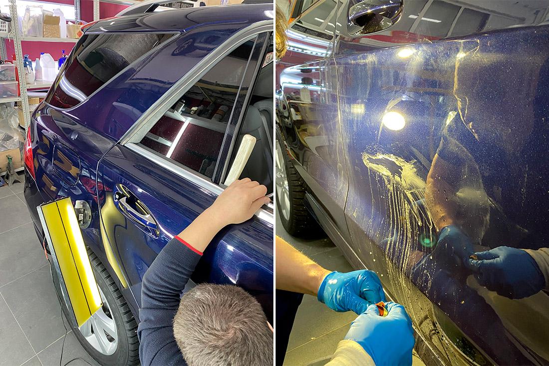 Как в «DT GARAGE 33» убирают царапины и вмятины на автомобилях? Смотреть фото и видео.
