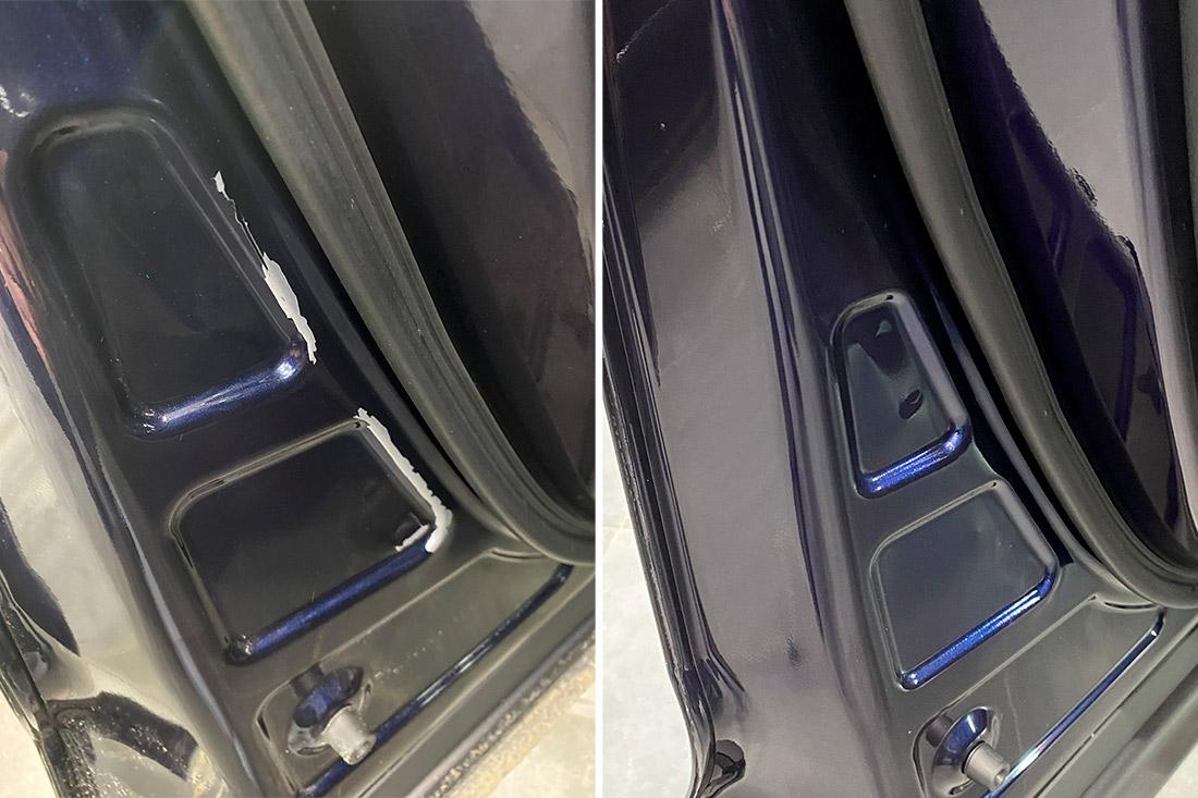 На фото дверь до восстановления лкп и после восстановления.